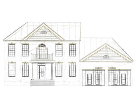 The outline of the house is two-story. Front view. Vector illustration Stock Illustratie