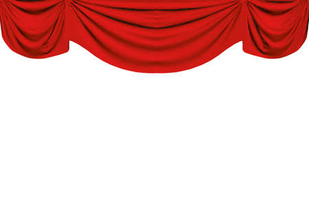 Red curtains at the top with pleats. 3D. Vector illustration Stock Illustratie