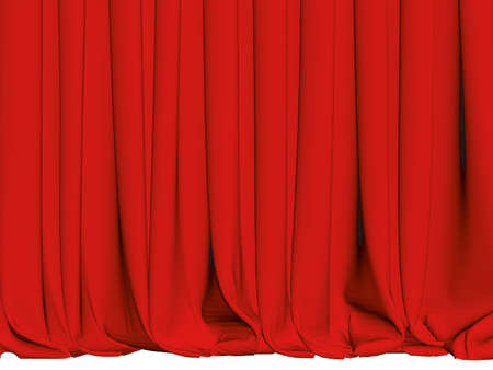 Red curtains with pleats. 3D. Vector illustration