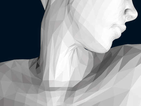 Polygonal model of a girl with her head turned. Neck close-up. 3D. Vector illustration