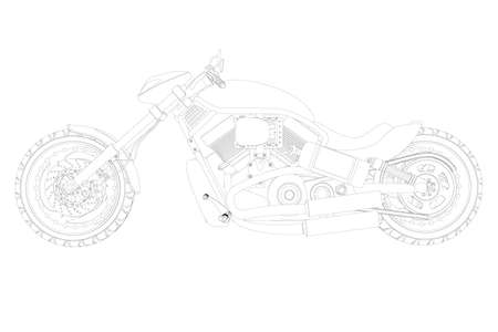 Motorcycle contour from black lines isolated on white background. Side view. 3D. Vector illustration