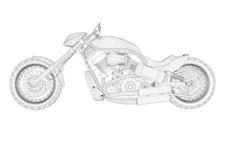 Motorcycle wireframe from black lines isolated on white background. Side view. 3D. Vector illustration