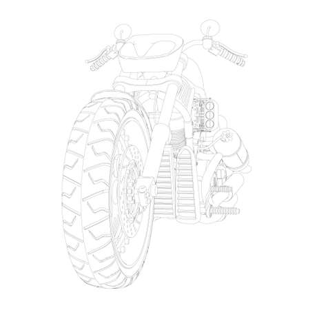 Motorcycle contour from black lines isolated on white background. Perspective view. 3D. Vector illustration