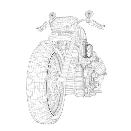 Motorcycle skeleton from black lines isolated on white background. perspective. 3D. Vector illustration
