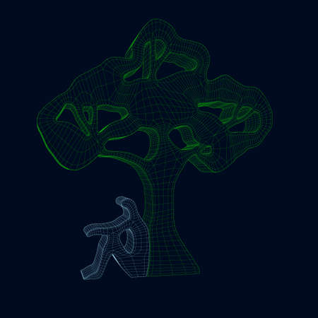 Wireframe abstract green tree with a man sitting near it. 3D. Vector illustration