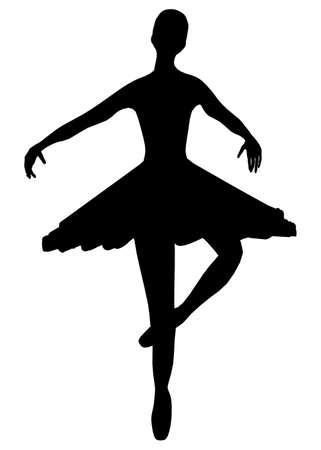 Silhouette of a dancing ballerina isolated on a white background. Vector illustration Vektoros illusztráció