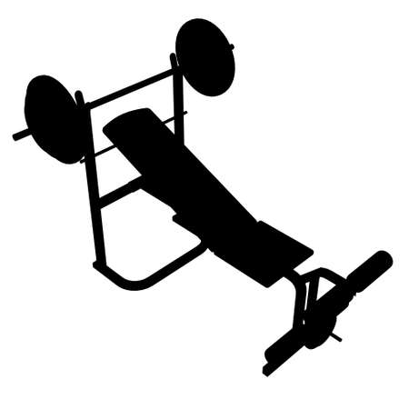 Silhouette of sports equipment isolated on white background. Bench with a barbell for the press. Isometric view. Vector illustration