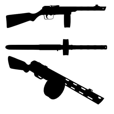 Set with silhouettes of a Russian machine gun in various positions isolated on a white background. Vector illustration Vektorové ilustrace