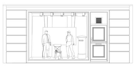 Outline of a shop window with mannequins in clothes made of black lines isolated on a white background. Front view. Vector illustration