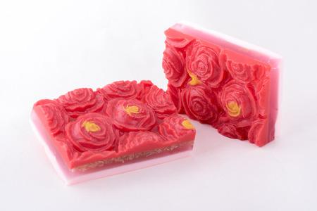 glycerin soap: Red handmade soap on light gray background