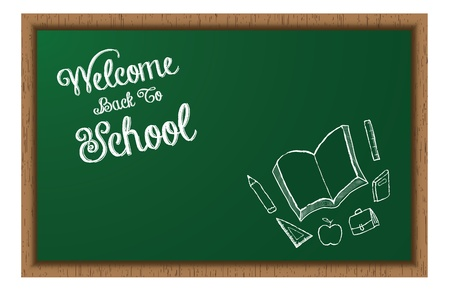 A School Blackboard with  Welcome Back To School  Chalk Styled text and School Supplies Doodles
