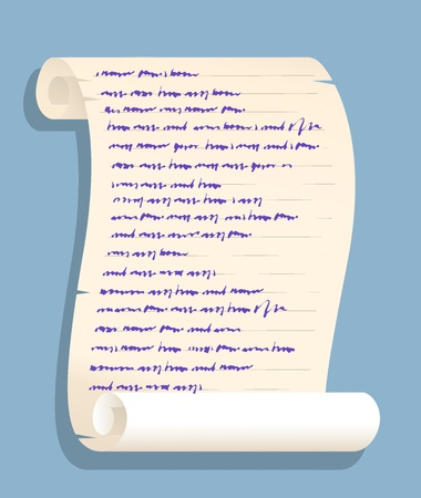 unreadable: Background illustration of an old rolled up paper scroll with fake unreadable handwriting isolated on simple blue background