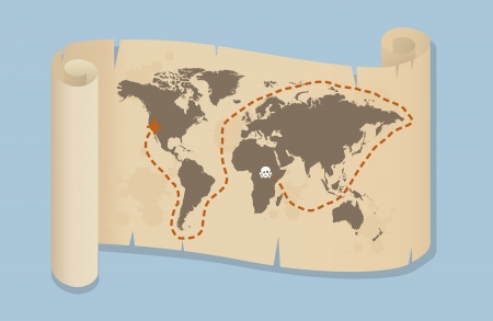 Map Of The World Placed On An Old Paper Scroll And Decorated With Pirate Graphics Vector