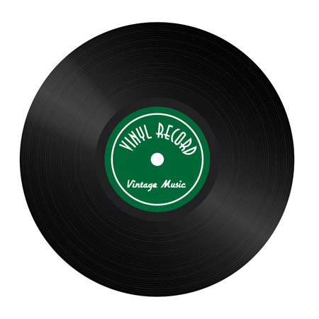 grooves: Vintage Vinyl Record with green label and highlights Illustration