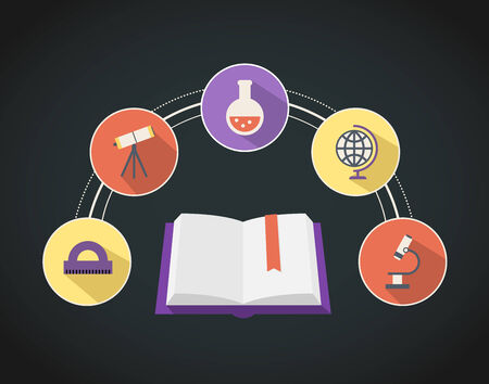 sciences: A set of educational academic icons around a text book  Illustration