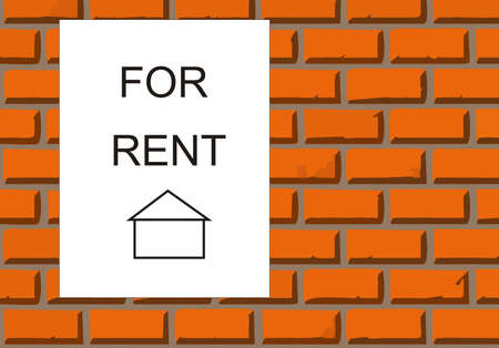 House for rent on brick wall Stock Vector - 4540758