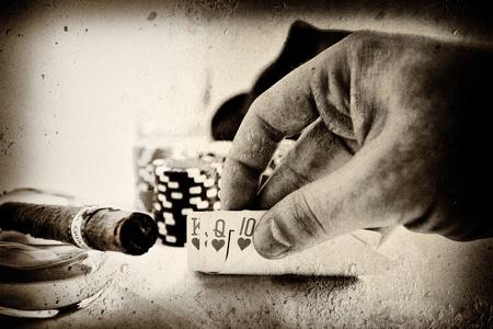 Obraz dłoni zabytkowe koncepcyjne pokera