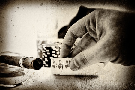 vintage conceptual poker hand image Stock Photo