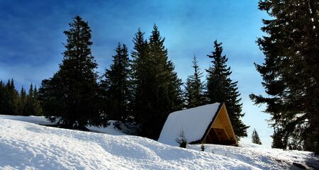 wood shelter in snow winter landscape Stock Photo - 8559670
