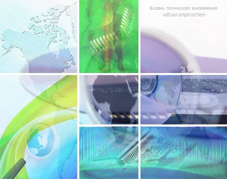 technology collage: concept data collage; global technology background Stock Photo