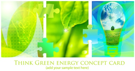 green collage from tree image; energy conceptual