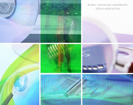concept data collage; global technology background Stock Photo