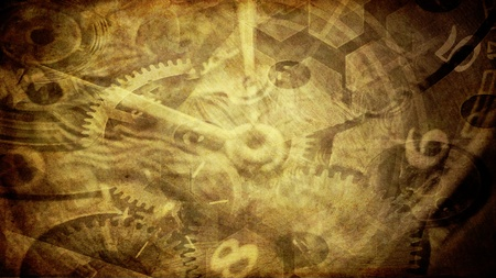 vintage art illustration with time concept  Stock Photo