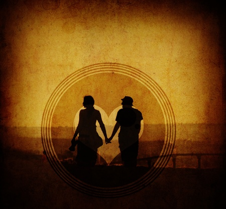 vintage love conceptual image with young couple in walk