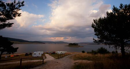caravan park in bulgarian mountain Stock Photo