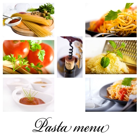 Pasta, wine and spice collage shot suitable for restaurant menu Stockfoto