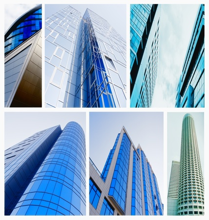 contemporary collage of diferent blue colored glass architectural buildings