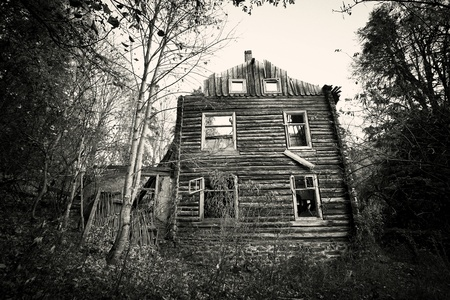 abandoned: Front of creepy old house - vintage black and white  version  Stock Photo