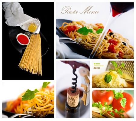Pasta and wine several shot collage suitable for restaurant menu