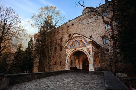 Rila monastery in Bulgaria front yard panoramic view photo
