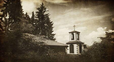 old monastery in bulgarian deep Vitosha forest; vintage  religious background Stock Photo - 11770705