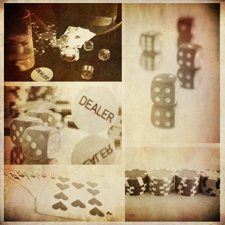 rocznika koncepcyjne poker kolaż z kilku obrazu, tła dla wydruków kreskowych lub tapety