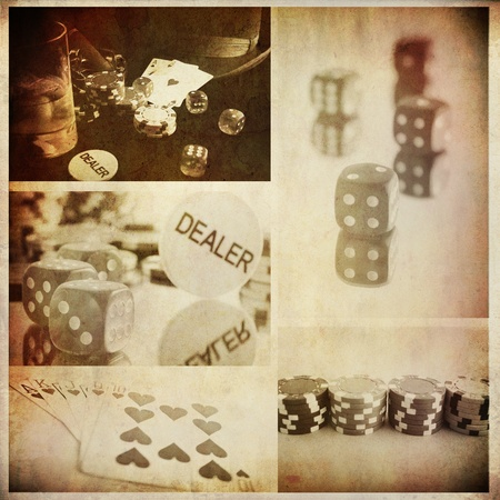 vintage conceptual poker collage from few image; background for bar prints or wallpaper