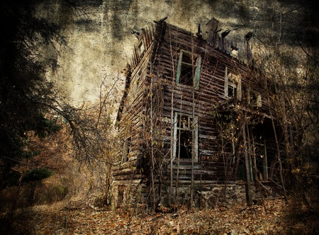 abandoned house: Abandoned spooky house in textured background Stock Photo