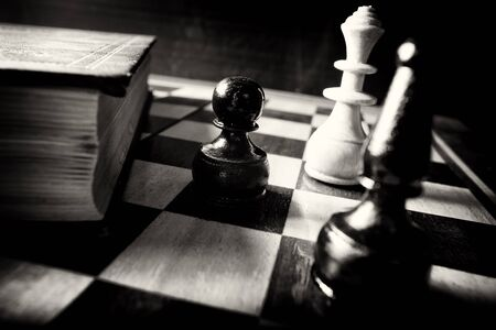 abstract black and white chess; teach your move vintage conceptual Stock Photo - 13558408