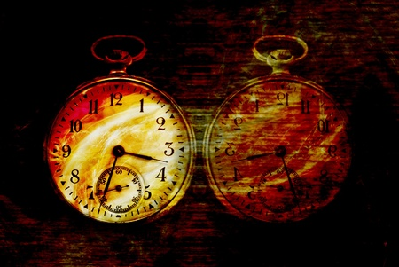 diabolic: Vintage abstract old clock in diabolic red flame