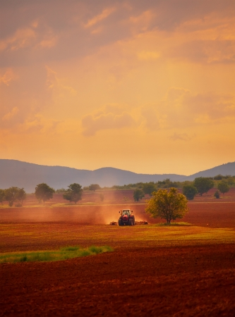 farm tractor: HDR vertical landscape; sunset over the cultivated farmland