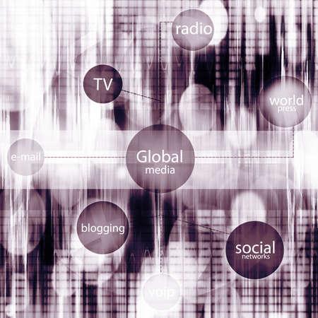 duotone illustration- media and social tag cloud Stock Illustration - 14227912