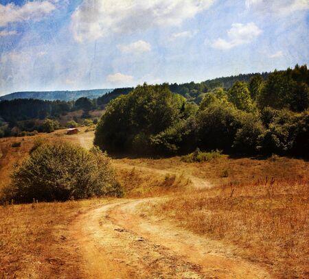 pastoral: textured vintage pastoral landscape