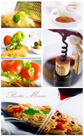 Tradycyjny włoski makaron collage jedzenie nadaje się do menu w restauracji Zdjęcie Seryjne