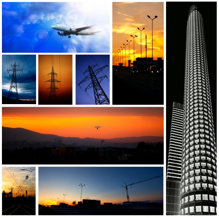 industry low light picture combine in collage Stock Photo - 16260294