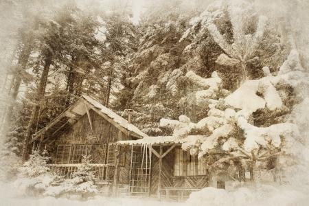 vintage, zimowy krajobraz z drewnianym shellter w głębokim lesie