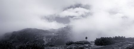 high contrasted black and white mountain panoramic landscape Stock Photo - 17120418