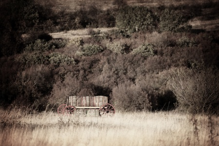 old cart in the field vintage landscape Stock Photo