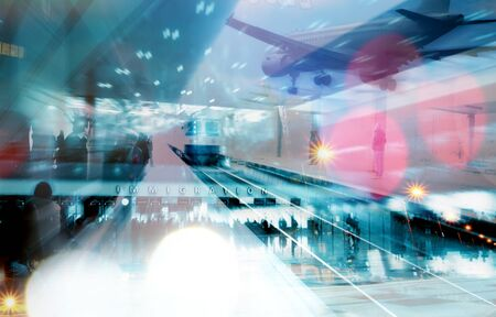 emigration: abstract emigration collage- transportation conceptual background Stock Photo