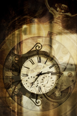 history: abstract vintage background with retro clock and mechanism